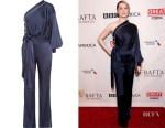 Evan Rachel Wood's Jonathan Simkhai one-shoulder tie-front satin jumpsuit