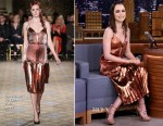 Lily Collins In Christian Siriano - The Tonight Show Starring Jimmy Fallon