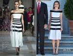 Queen Letizia Of Spain In Carolina Herrera - Spanish Royals Receive President Of Peru