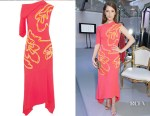 Anna Kendrick's Peter Pilotto Asymmetric chenille-trimmed crepe midi dress