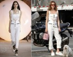 Olivia Palermo rocks a French girl style Self-Portrait summer jumpsuit