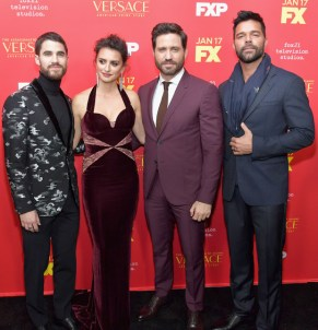 """Darren Criss, Penelope Cruz, Edgar Ramirez, and Ricky Martin attend the premiere of FX's """"The Assassination Of Gianni Versace: American Crime Story"""""""