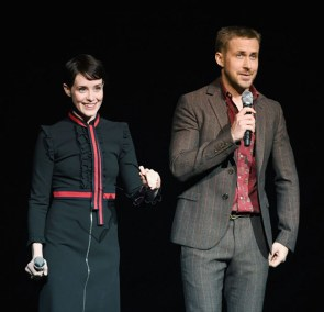 Claire Foy and Ryan Gosling speak onstage during CinemaCon 2018 Universal Pictures Invites You to a Special Presentation Featuring Footage from its Upcoming Slate