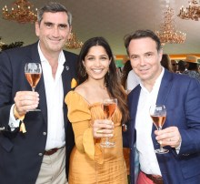 Veuve Clicquot President and CEO Jean-Marc Gallot, Freida Pinto, and International Director of Veuve Clicquot Thomas Bouleuc attend the 11th annual Veuve Clicquot Polo Classic