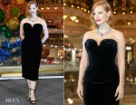 Jessica Chastain In Ulyana Sergeenko Demi-Couture - Les Galeries Lafayette Christmas Decorations Inauguration