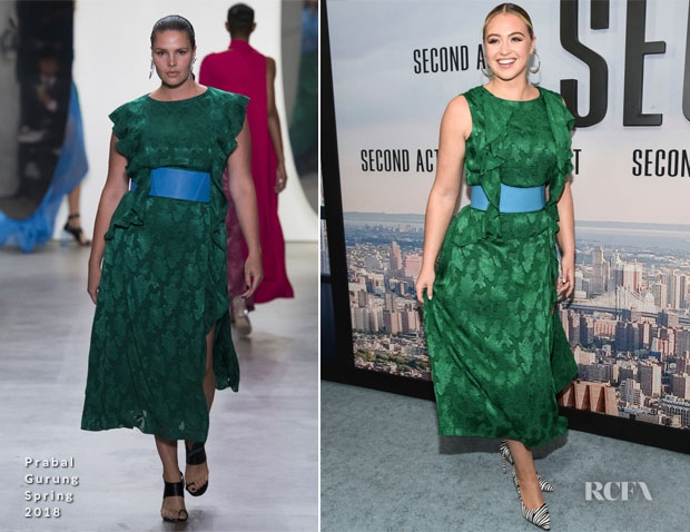 Fashion Blogger Catherine Kallon feature Iskra Lawrence In Prabal Gurung - 'Second Act' New York Premiere