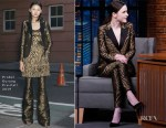 Fashion Blogger Catherine Kallon Features Rachel Brosnahan In Prabal Gurung - Late Night with Seth Meyers