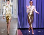 Fashion Blogger Catherine Kallon feature Vanessa Hudgens In Ralph & Russo - The Tonight Show Starring Jimmy Fallon