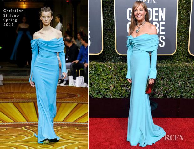 Fashion Blogger Catherine Kallon features Allison Janney In Christian Siriano - 2019 Golden Globe Awards