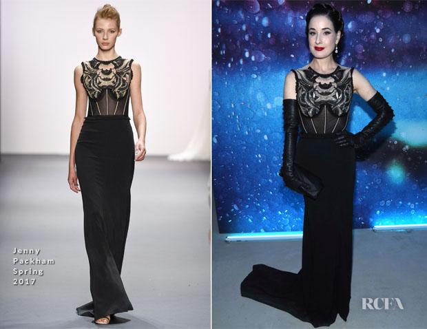 Fashion Blogger Catherine Kallon features Dita von Teese In Jenny Packham -  Art Of Elysium 'Heaven' Gala