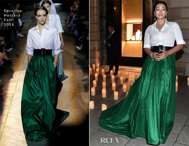 Fashion Blogger Catherine Kallon features Gong Li In Carolina Herrera - Boucheron Dinner