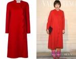 Kristin Scott Thomas' Valentino Scallop-Trimmed Coat