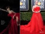 Fashion Blogger Catherine Kallon features Lili Reinhart In Khyeli Couture - 2019 Golden Globe Awards