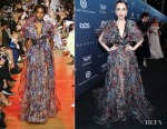 Fashion Blogger Catherine Kallon features Lily Collins In Elie Saab - Art Of Elysium Gala