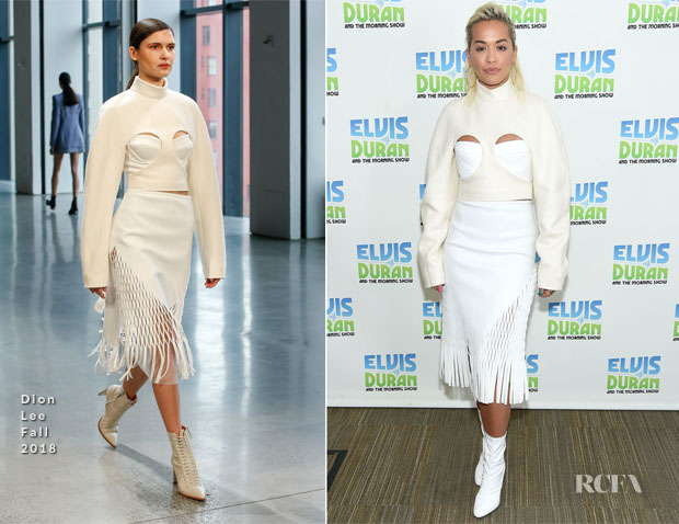 Fashion Blogger Catherine Kallon features Rita Ora In Dion Lee - The Elvis Duran Z100 Morning Show