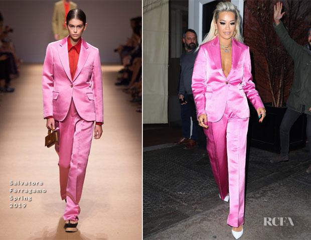 Fashion Blogger Catherine Kallon features Rita Ora In Salvatore Ferragamo - Out In New York City