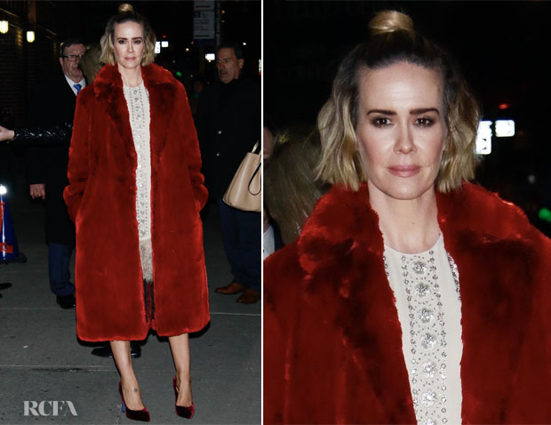 Fashion Blogger Catherine Kallon features Sarah Paulson In Calvin Klein & Valentino - The Late Show With Stephen Colbert