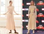 Fashion Blogger Catherine Kallon features Brie Larson In Max Mara - 'Captain Marvel' Talent Tour Press Conference