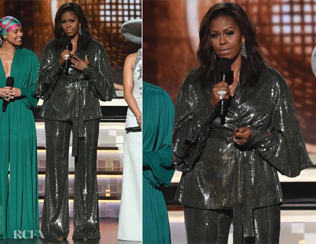Fashion Blogger Catherine Kallon features Michelle Obama In Sachin & Babi -2019 Grammy Awards