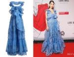 Jessica Kahawaty's Valentino Ruffled Silk-Organza Gown
