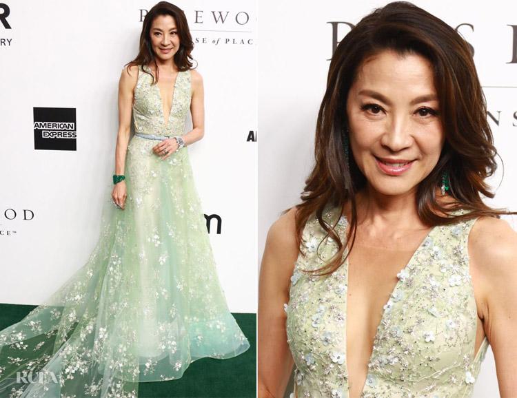 Michelle Yeoh's Princess Moment at amfAR Gala Hong Kong 2019 wearing Barney Cheng