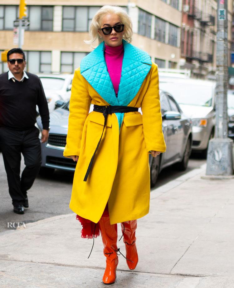 Rita Ora is seen in Tribeca on March 25, 2019 in New York City in Prabal Gurung