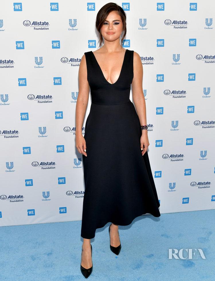 Selena Gomez Wears Black Christian Dior For WE Day