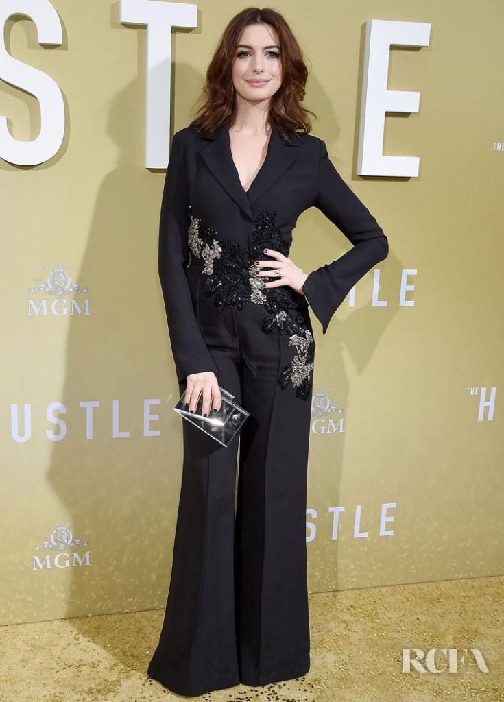 Anne Hathaway In Elie Saab 'The Hustle' LA Premiere