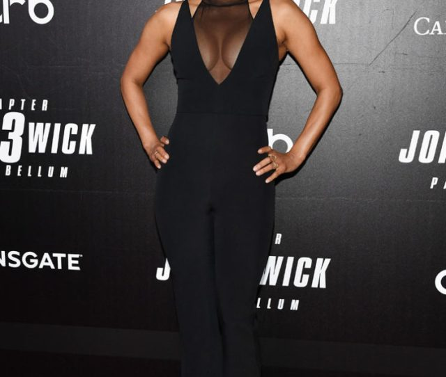 Halle Berry Rocks A Sexy Jumpsuit For The John Wick Chapter