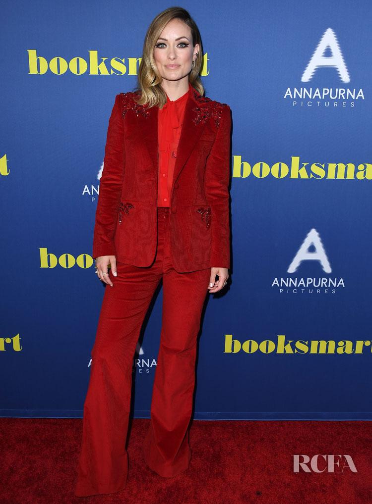 Olivia Wilde's Statement Scarlet Suit For The 'Booksmart' LA Screening