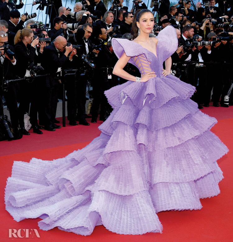 Rita Sririta Jensen in Michael Cinco Couture + Avakian jewels