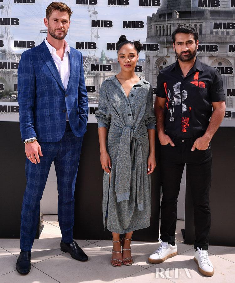 Chris Hemsworth, Tessa Thompson and Kumail Nanjiani attend the Men in Black: International photocall at The Corinthia Hotel on June 02, 2019 in London, England.