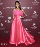 Winnie Harlow's Punchy Pink Plumes For The ACE Awards