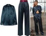 Zendaya's Peter Do Hammered-Satin Shirt & Pants
