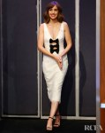 Alison Brie, Lovely In White Lace On Jimmy Kimmel Live!