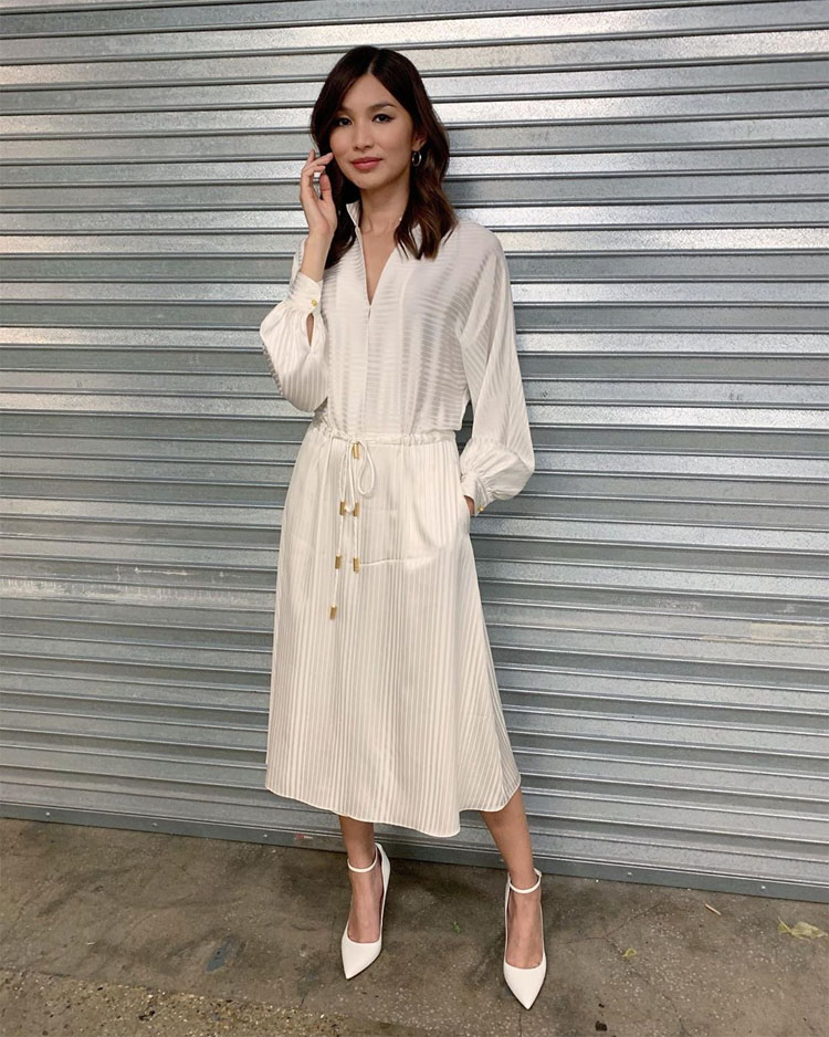 Gemma Chan Channel Nonchalant-Chic In Tory Burch For 'I Am Hannah'