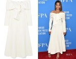 Regina Hall's Lela Rose Off-The-Shoulder Tie-Front Midi Dress