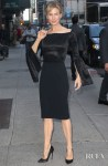 Renée Zellweger Was Smouldering In All Black Roland Mouret On The Late Show with Stephen Colbert