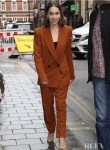 Emilia Clarke's Autumnal Amber Petar Petrov Suit Promoting 'Last Christmas'