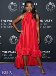 Aja Naomi King Wore Red Azeeza To The Final Season Of 'How To Get Away With Murder' Celebration