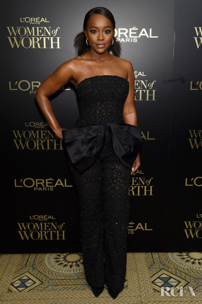Aja Naomi King Haute Couture Jumpsuit For The L'Oréal Paris Women Of Worth Awards