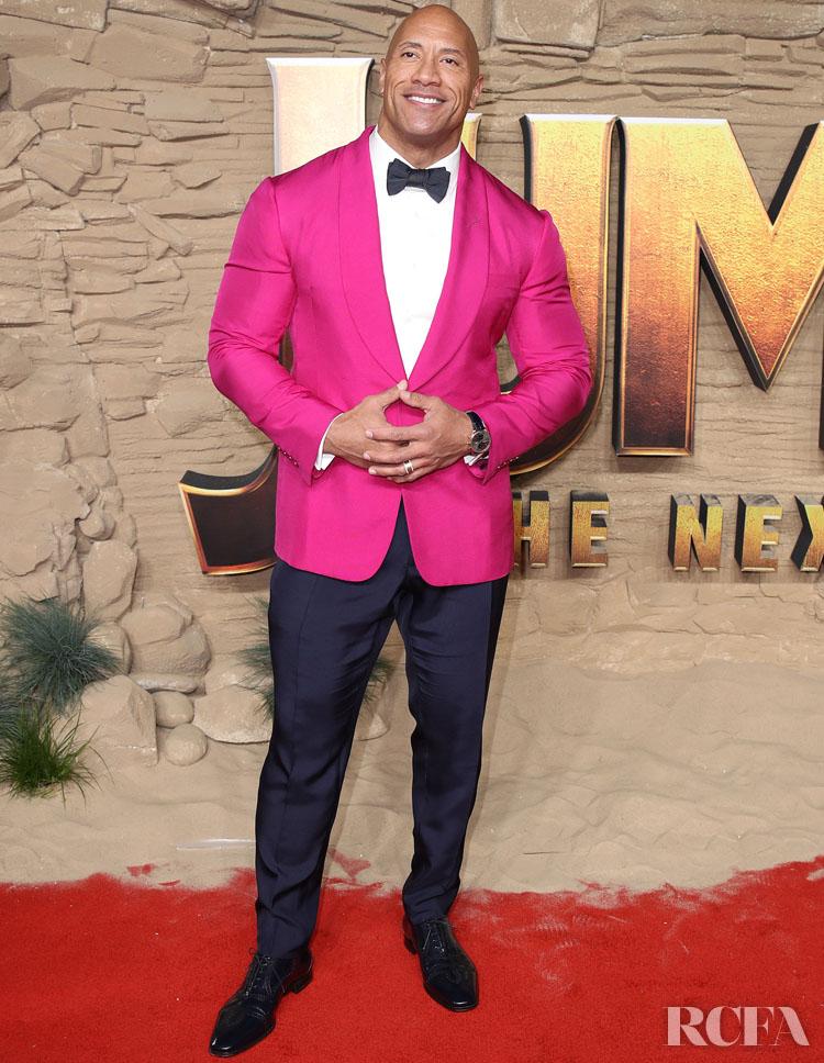 Dwayne Johnson's Pretty In Pink Ralph Lauren For The 'Jumanji: The Next Level' London Premiere