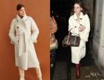 Emilia Clarke's MANGO Faux Shearling Long Coat