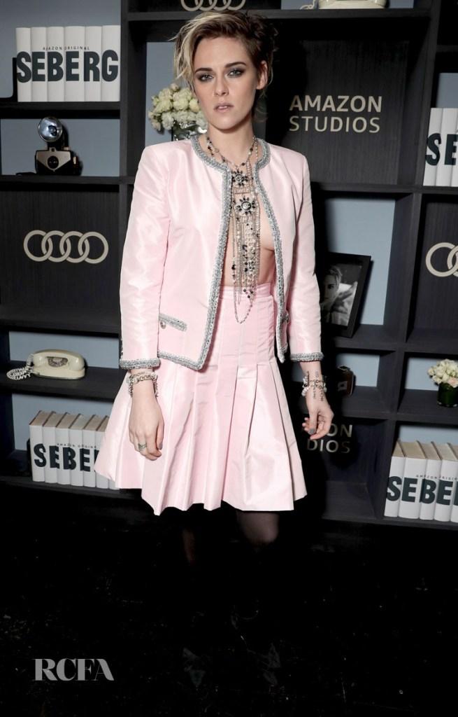 Kristen Stewart Goes Braless In Chanel For The 'Seberg' LA Screening