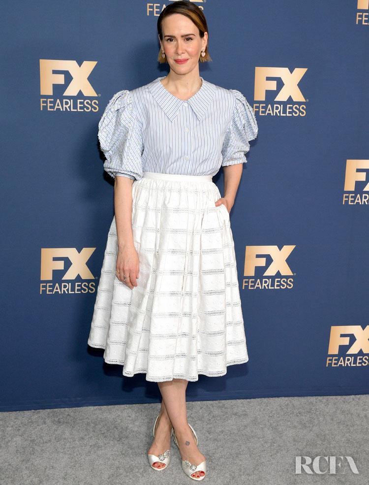 Sarah Paulson Wore Miu Miu To The Winter Press Tour For 'Mrs. America'