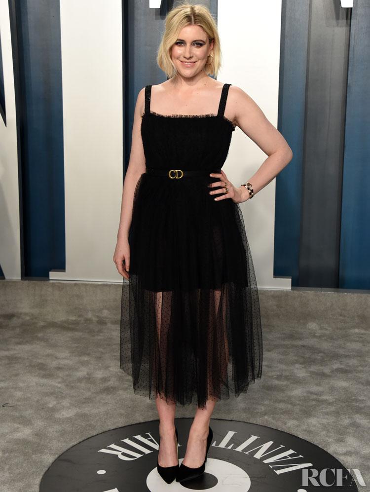 Greta Gerwig n in Christian Dior The 2020 Vanity Fair Oscar Party