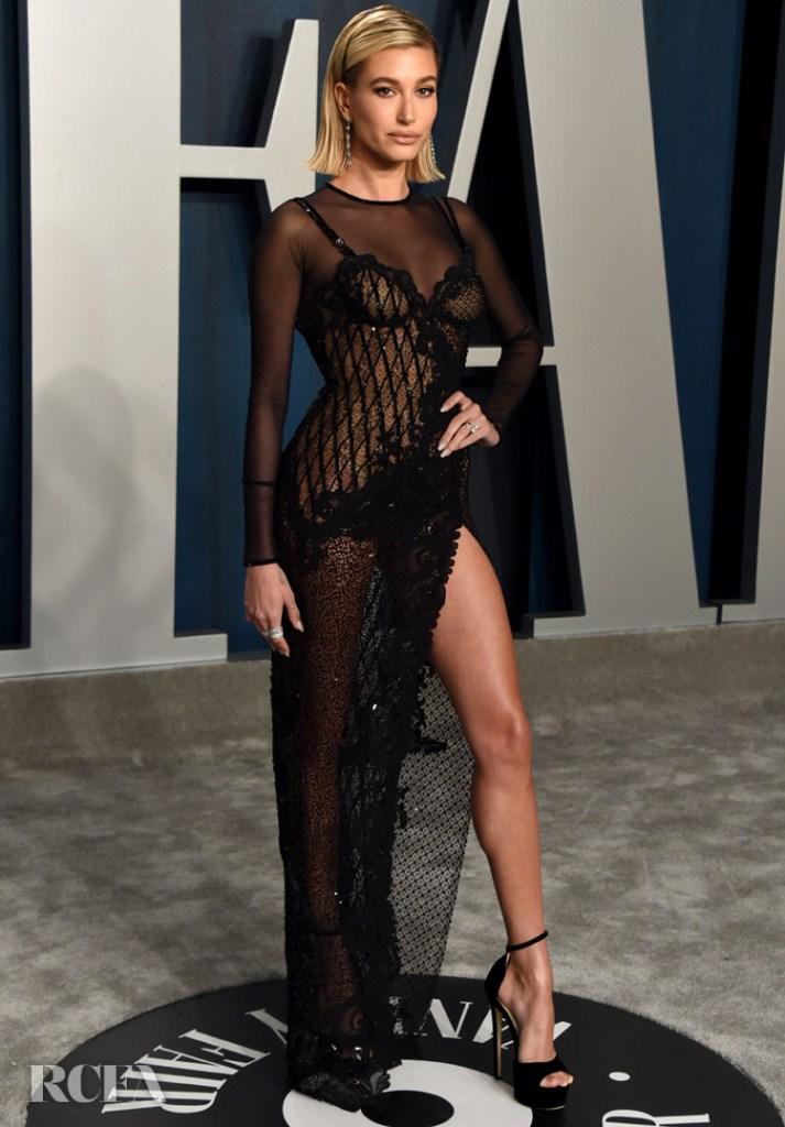 Hailey Bieber In Atelier Versace -  2020 Vanity Fair Oscar Party