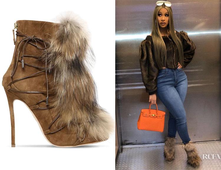 Cardi B's Dsquared2 Faux-Fur Embellished Boots