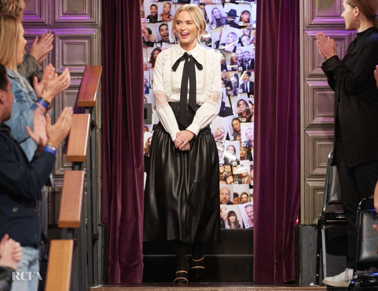 Emily Blunt Wore Self-Portrait On The Late Late Show with James Corden
