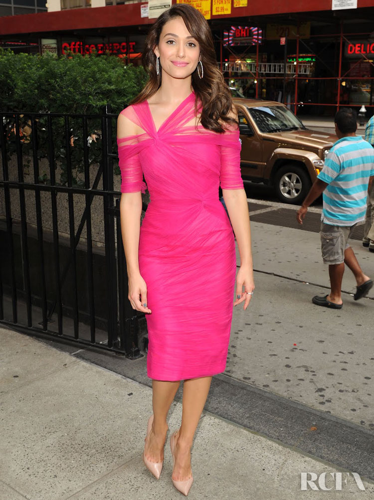 Emmy Rossum In Monique Lhuillier – 'Project Runway' Taping